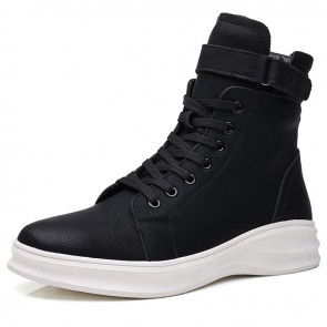 Young Lift Buckle Sneakers Add Taller 2.4 inch / 6 cm Black-White Side Zip High Top Walking Boots