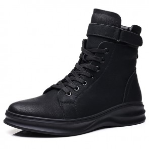 Young Elevator Buckle Sneakers for Men Add Height 2.4 inch / 6 cm Black Side Zip High Top Walking Boots