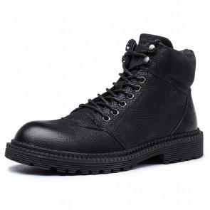 Retro Hidden Taller Chukka Boots Add Height 2.6 inch / 6.5 cm Black Premium Leather Safety Work Boots