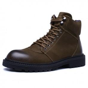 Retro Hidden Lift Chukka Boots Gain Taller 2.6 inch / 6.5 cm Brown Premium Leather Safety Work Boots