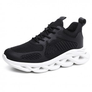 Younger Hidden Taller Sneakers Add Height 2.8inch / 7cm black Mesh Breathable Trail Runners