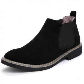 Black Men's Chelsea Boots Add Taller 2.2 inch / 5.5 cm Fashion Casual Ankle Boots Increase Height