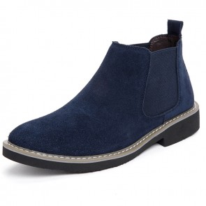 Blue Men's Chelsea Boots Make You Taller 2.2 inch / 5.5 cm Fashion Casual Ankle Boots Add Height