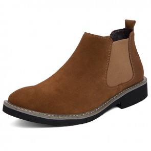 Brown Men's Chelsea Boots Add Height 2.2 inch / 5.5 cm Fashion Casual Ankle Boots Increase Taller