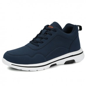 Blue Height Increasing Fashion Sneakers Add 3 inch / 7.5 cm Lightweight Elevator Skate Shoes
