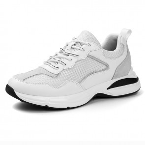 White Hidden Taller Chunky Sneakers Add Height 2.4 inch / 6cm Awesome Flyknit Elevator Dad Shoes