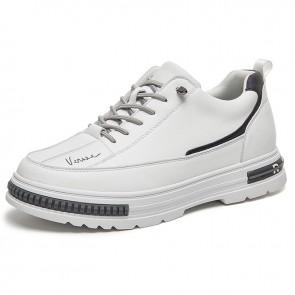 Superior Eevator White Sneakers for Men Add Taller 2.8 inch / 7 cm Hidden Heel Lift Platform Skateboarding Shoes