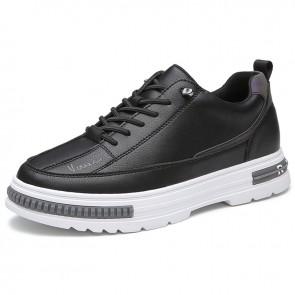 Eevator Men Black Sneakers Increase 2.8 inch / 7cm Hidden Height Platform Skateboarding Shoes