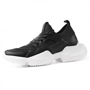 INS Trendy Height Increasing Dad Shoes Black Mesh Elevator Chunky Sneakers Add Taller 3.6inch / 9cm