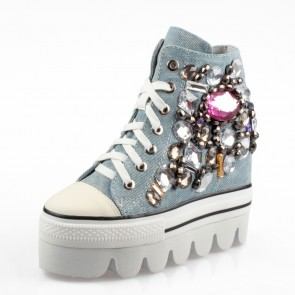 Beaded denim height increasing casual shoes for women get taller 13cm / 5inches elevator shoes