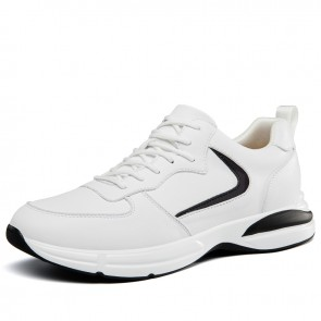 Journey Height Increasing Sneakers for Men Add Taller 2.8 inch / 7 cm White Leather Trendy Casual Sports Shoes