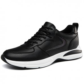 Journey Elevator Sneakers for Men Increase Taller  2.8 inch / 7 cm Black Leather Trendy Casual Sports Shoes