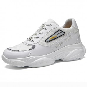 Hidden Height Mixed Material Sneakers Add Taller 2.8 inch / 7 cm White Elevator Chunky Walking Shoes