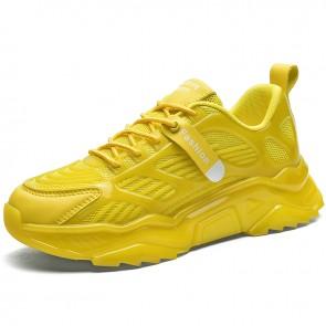 Yellow Damping Running Walking Shoes for Me Gain Taller 2.4 inch / 6 cm Hidden Lift Fashion Sneaker