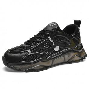 Black Damping Running Walking Shoes for Men Add Taller 2.4 inch / 6 cm Elevator Fashion Sneaker