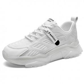White Damping Running Walking Shoes Get Altitude 2.4 inch / 6 cm Hidden Lift Fashion Sneaker
