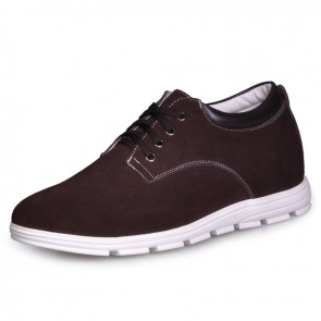 UK coffee elevating shoes men casual sneaker shoes increase taller 6cm / 2.36inches