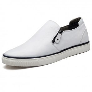 Stylish slip on elevator board shoes zip loafers 2.2inch / 5.5cm White