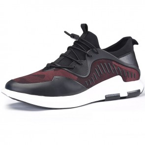 Fashion lace up elevator running shoes 2.4inch / 6cm black-red mesh height increasing sneakers
