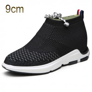 Black-White Taller Flyknit Shoes for Men 3.5inch / 9cm Height Slip on Loafers