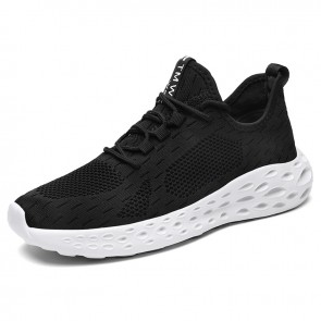 Hidden Lift Workout Shoes Black-White Flyknit Elevator Walking Shoes Add Taller 2.6inch / 6.5cm