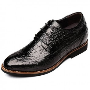 Alligator Grain Taller Business Formal Shoes 3.2inch  / 8cm Black Lace Up Elevator Dress Shoes