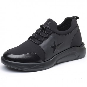 Comfortable Men Taller Sneakers height 3.2inch black elevator sports shoes