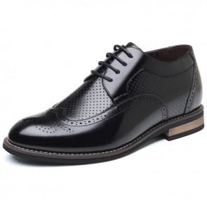 Hollow Holes Elevator Oxfords for men taller 7cm black cowhide dress sandals
