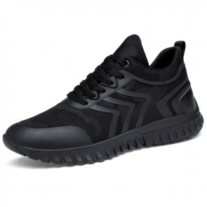 Black Taller fashion sneakers for men add height 3.2inch casual sports shoes