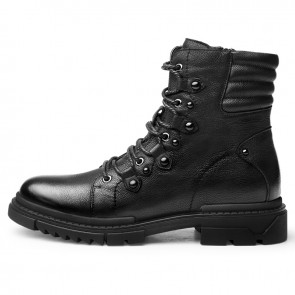 Black Taller Men Motorcycle Boots Increase 2.6inch / 6.5cm Elevator Combat Boot Leather Riding Biker Boots