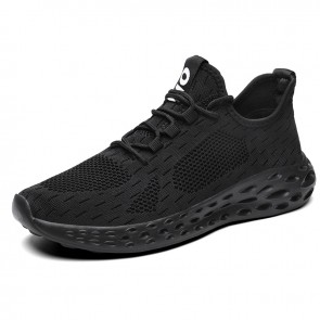Breathable Hidden Taller Workout Shoes Black Flyknit Elevator Walking Shoes Increase 2.6inch / 6.5cm