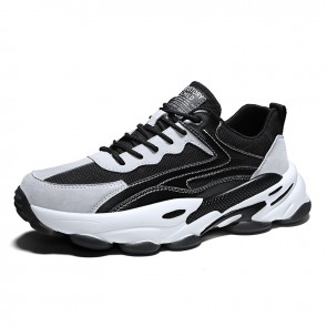 Height Increasing Running Walking Shoes Black Chunky Sneakers Add Taller 2.8 inch / 7 cm