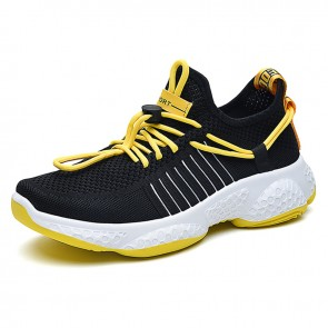 INS Trendy Elevator Men Running Shoes Black Mesh Slip On Sneakers Increase Height 2.8inch / 7cm