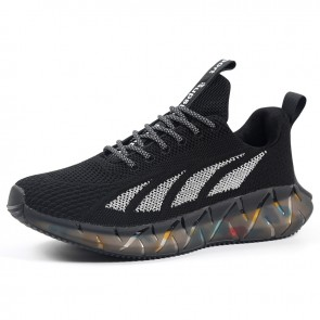 Height Increasing Fitness Jogging Shoes Black Lace Up Elevator Flyknit Trainers Add Taller 2.4 inch / 6 cm