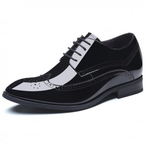 Black Brogue Formal Shoes Height Taller 2.8inch Tuxedo Shoes