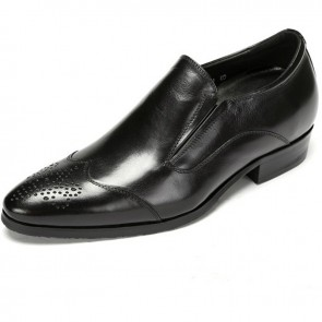 British elevator perforated toe dressy shoes 7cm / 2.75inch black brogue slip on wedding shoes