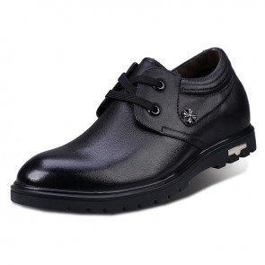 Black full grain cowhide plain toe elevator casual shoes for height growth 7cm / 2.75inches