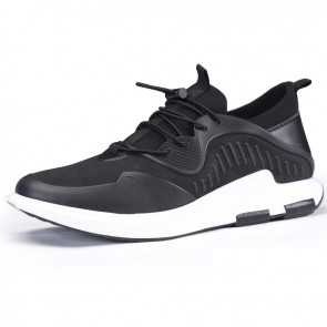 Fashion lace up elevator running shoes 2.4inch / 6cm black mesh taller sneakers