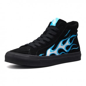 Elevator Men Hip-Hop Shoes Taller 2.8cm / 7cm Blue Flames Trainers Black Lift Skate Shoes