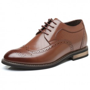 Hollow Holes Men Elevator Oxfords Add Height 2.8inch /  7cm brown taller dress shoes