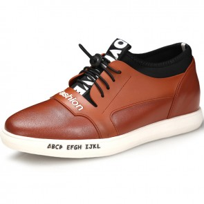 Fashion height increasing casual shoes 2.4inch / 6cm brown calfskin lace up skate shoes