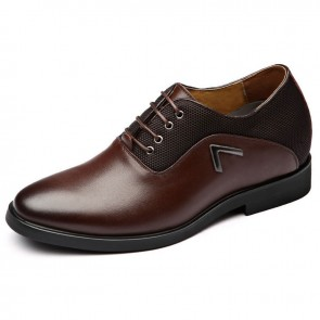 3inch Hidden Heigh Business Shoes Brown British Elevator Formal Oxfords Add Taller 7.5 cm
