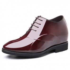 4Inch Hidden Taller Wedding Shoes Wine Red Patent Leather Pointy Toe Height Tuxedo Shoes Increase 10cm