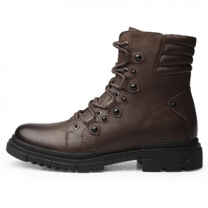 Khaki Men Taller Motorcycle Boots Add Height 2.6inch / 6.5cm Elevator Combat Boot Leather Riding Biker Boots
