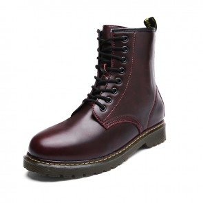 INS Tide Taller Combat Boots Burgundy Military Style Elevator Motorcycle Boot Height 3.2inch / 8cm