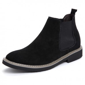 Height Increasing Chelsea Sneaker for Men Add Taller 2.2 inch / 5.5 cm Boots Black Suede Leather Ankle Boots