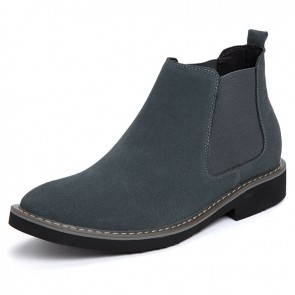 Elevator Men Chelsea Sneaker Boots Gray Suede Leather Ankle Boots Increase Taller 2.2 inch / 5.5 cm