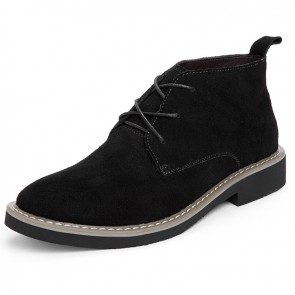 Classic Elevator Ankle Boots for Men Increase taller 2.4 inch / 6 cm Black Suede Leather Casual Boots