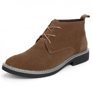 Classic Taller Men Ankle Boots Add Height 2.4 inch / 6 cm Brown Suede Leather Casual Boots