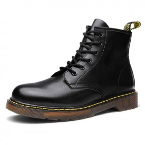 Hidden Lift Motorcycle Boots 6 Eyelet Taller Men Combat Boot Increase Height 3.2inch / 8cm